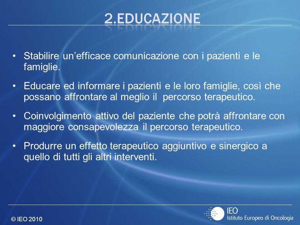 Stabilire un'efficace comunicazione con i pazienti e le famiglie.