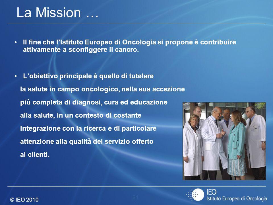 CERIGNOLA - 24 APRILE 2010 La Mission … Il fine che l'Istituto Europeo di Oncologia si propone è contribuire attivamente a sconfiggere il cancro.