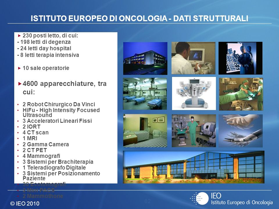 ISTITUTO EUROPEO DI ONCOLOGIA - DATI STRUTTURALI