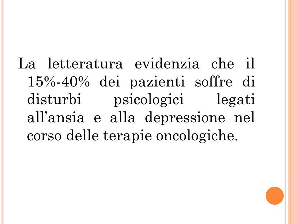 La letteratura evidenzia che il 15%-40% dei pazienti soffre di disturbi psicologici legati all'ansia e alla depressione nel corso delle terapie oncologiche.