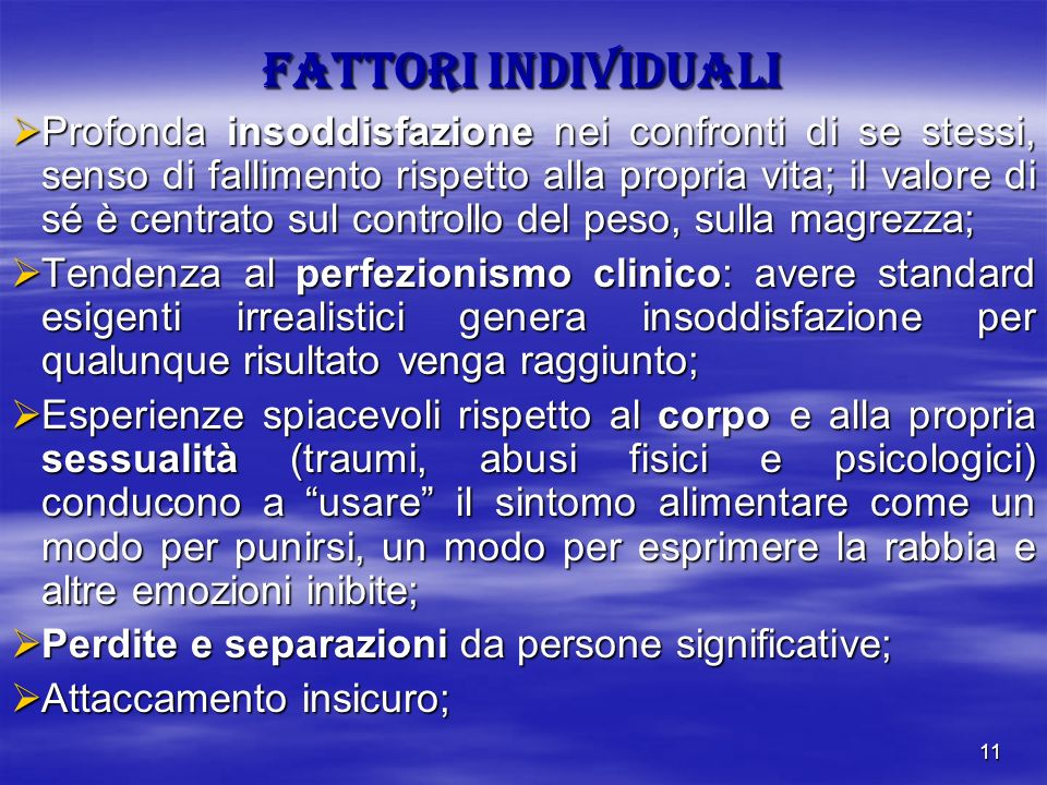 FATTORI INDIVIDUALI