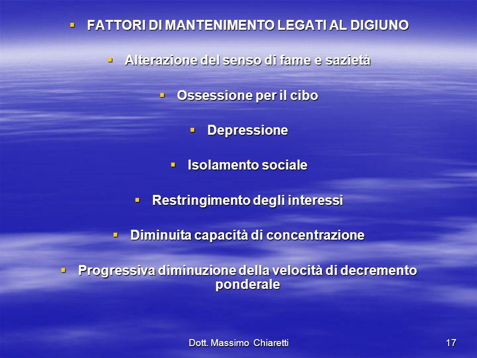 FATTORI DI MANTENIMENTO LEGATI AL DIGIUNO