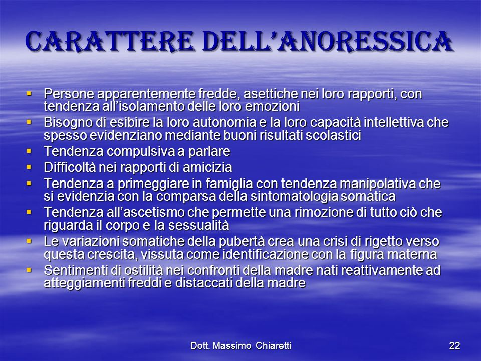Carattere dell'anoressica