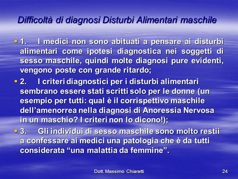 Difficoltà di diagnosi Disturbi Alimentari maschile