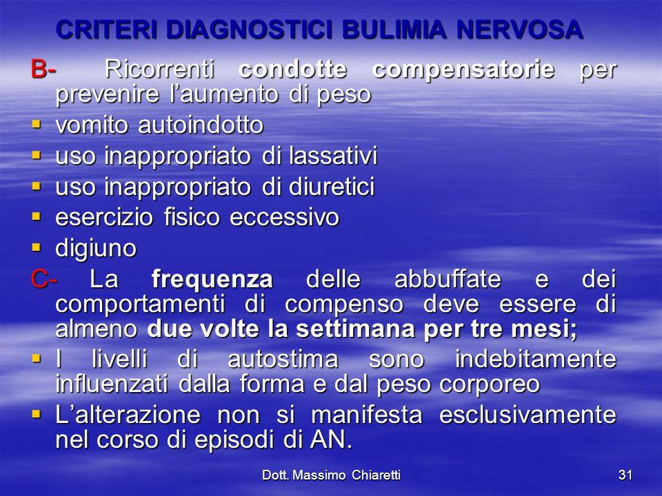 CRITERI DIAGNOSTICI BULIMIA NERVOSA