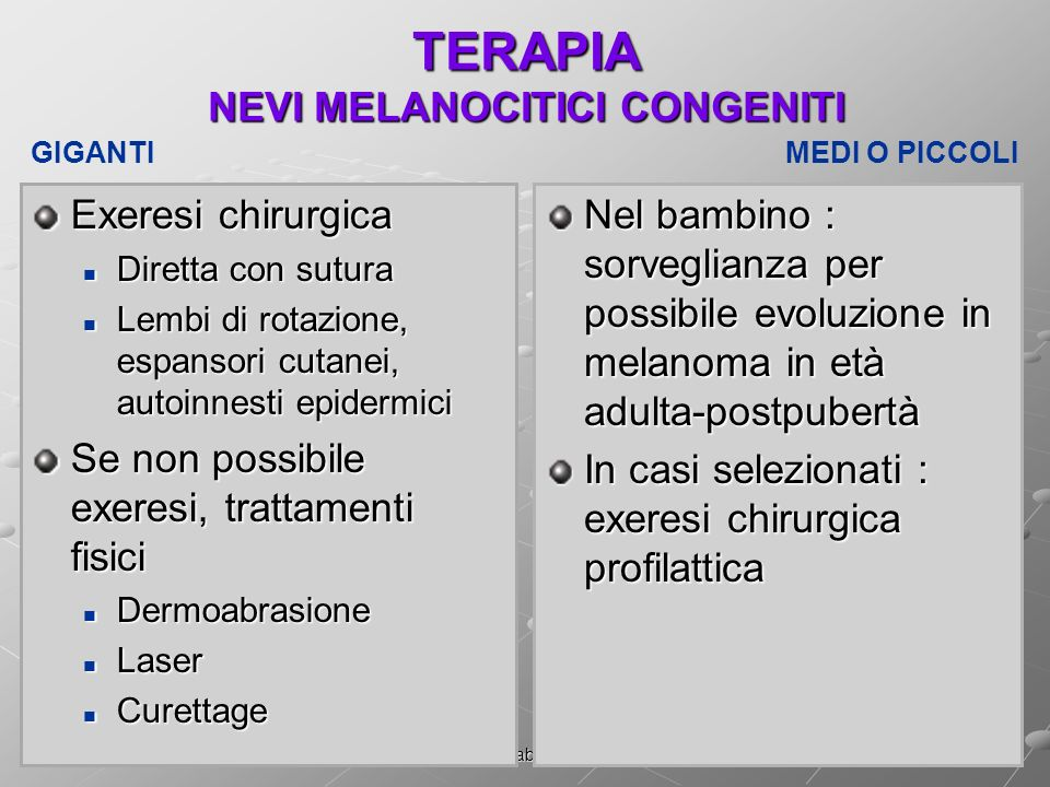 TERAPIA NEVI MELANOCITICI CONGENITI