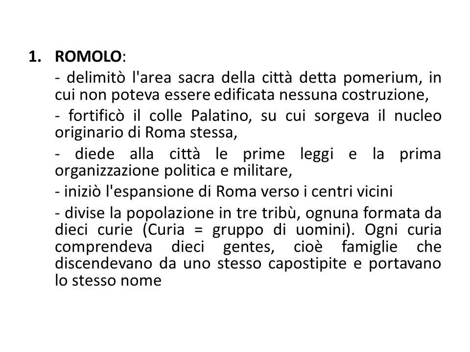 ROMOLO: - delimitò l area sacra della città detta pomerium, in cui non poteva essere edificata nessuna costruzione,