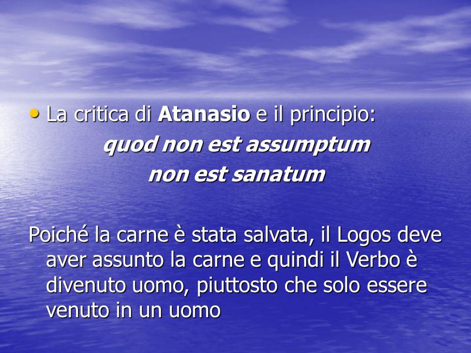 La critica di Atanasio e il principio: