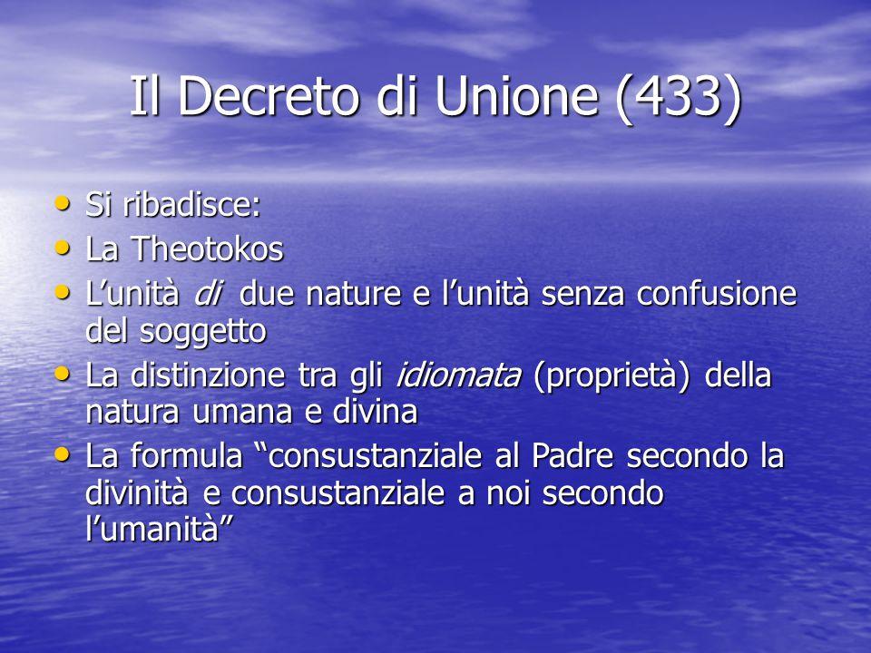 Il Decreto di Unione (433) Si ribadisce: La Theotokos
