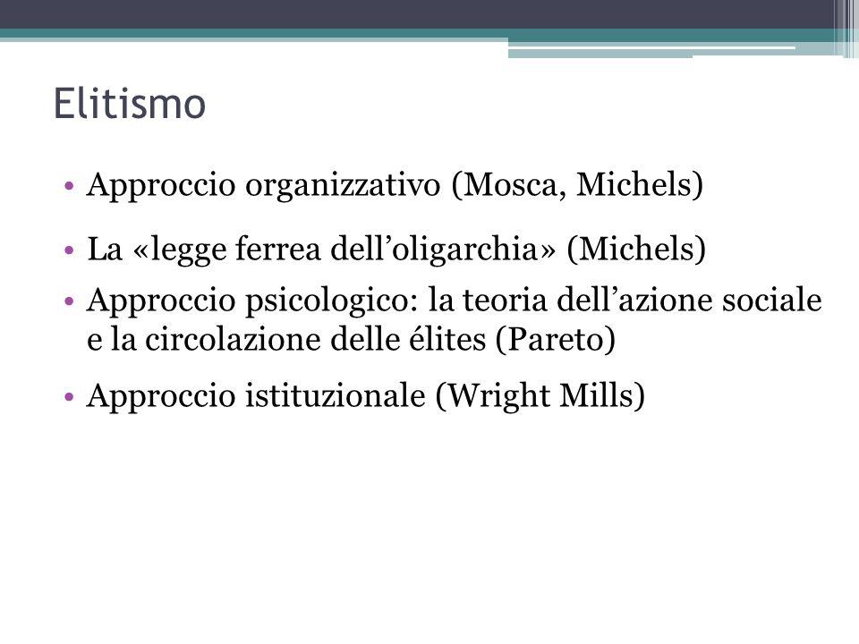 Elitismo Approccio organizzativo (Mosca, Michels)