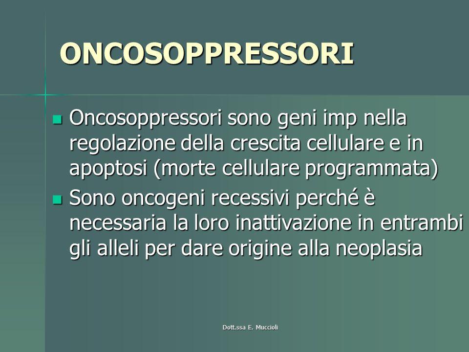 ONCOSOPPRESSORI Oncosoppressori sono geni imp nella regolazione della crescita cellulare e in apoptosi (morte cellulare programmata)