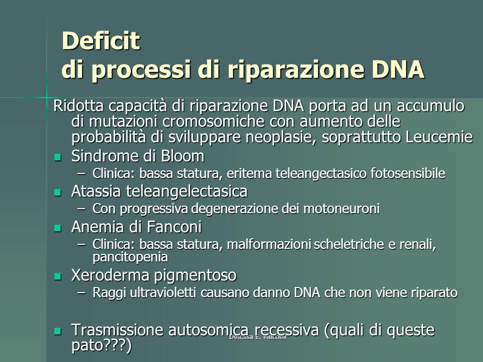 Deficit di processi di riparazione DNA