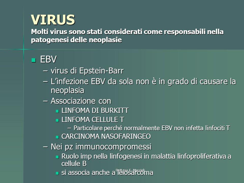 VIRUS Molti virus sono stati considerati come responsabili nella patogenesi delle neoplasie