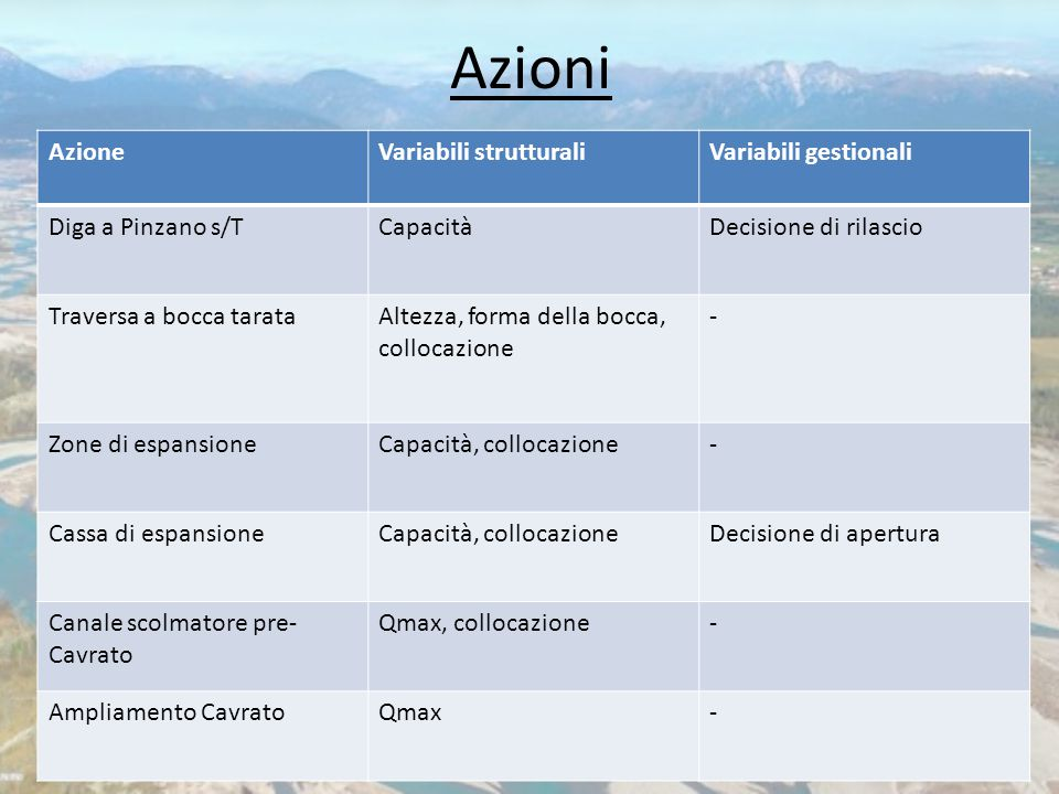 Azioni Azione Variabili strutturali Variabili gestionali
