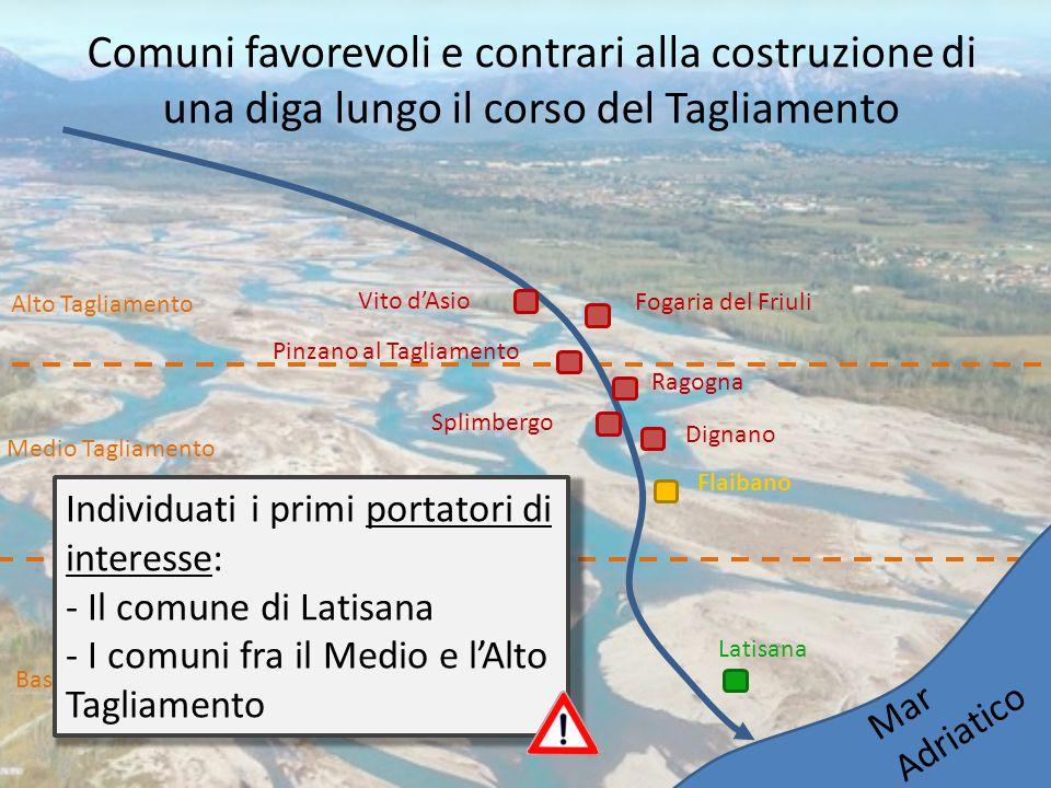 Comuni favorevoli e contrari alla costruzione di una diga lungo il corso del Tagliamento