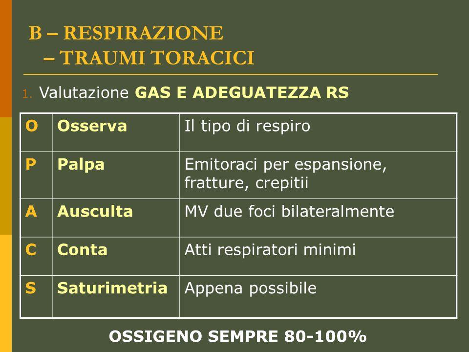 B – RESPIRAZIONE – TRAUMI TORACICI