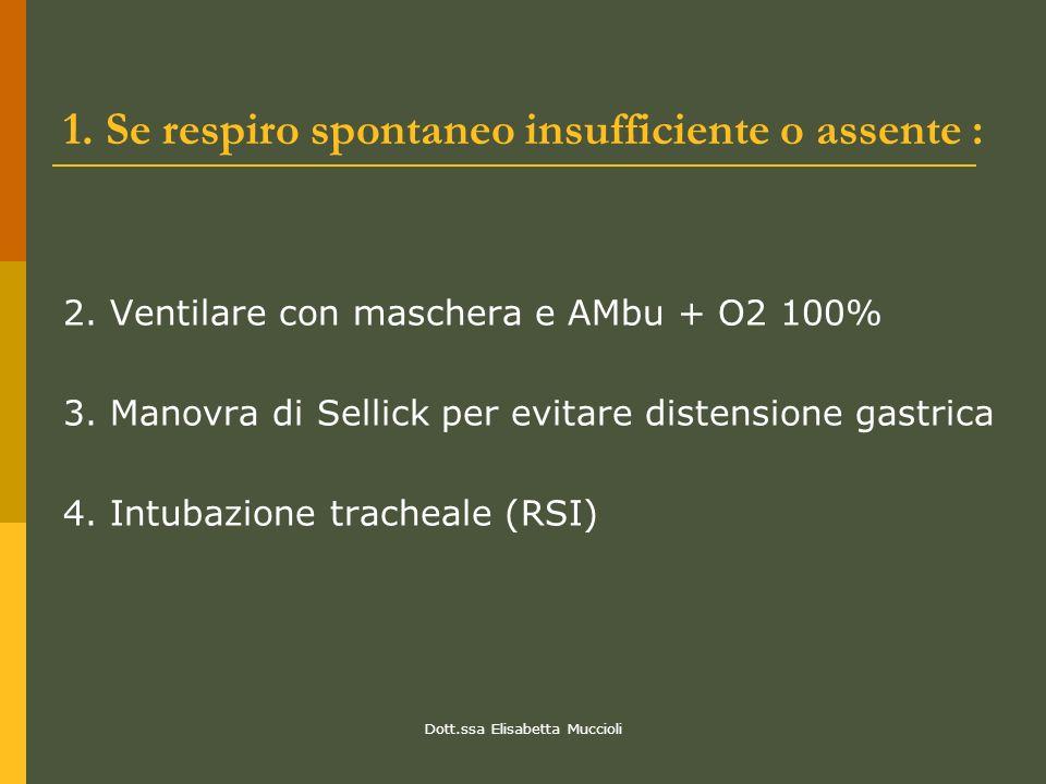 1. Se respiro spontaneo insufficiente o assente :