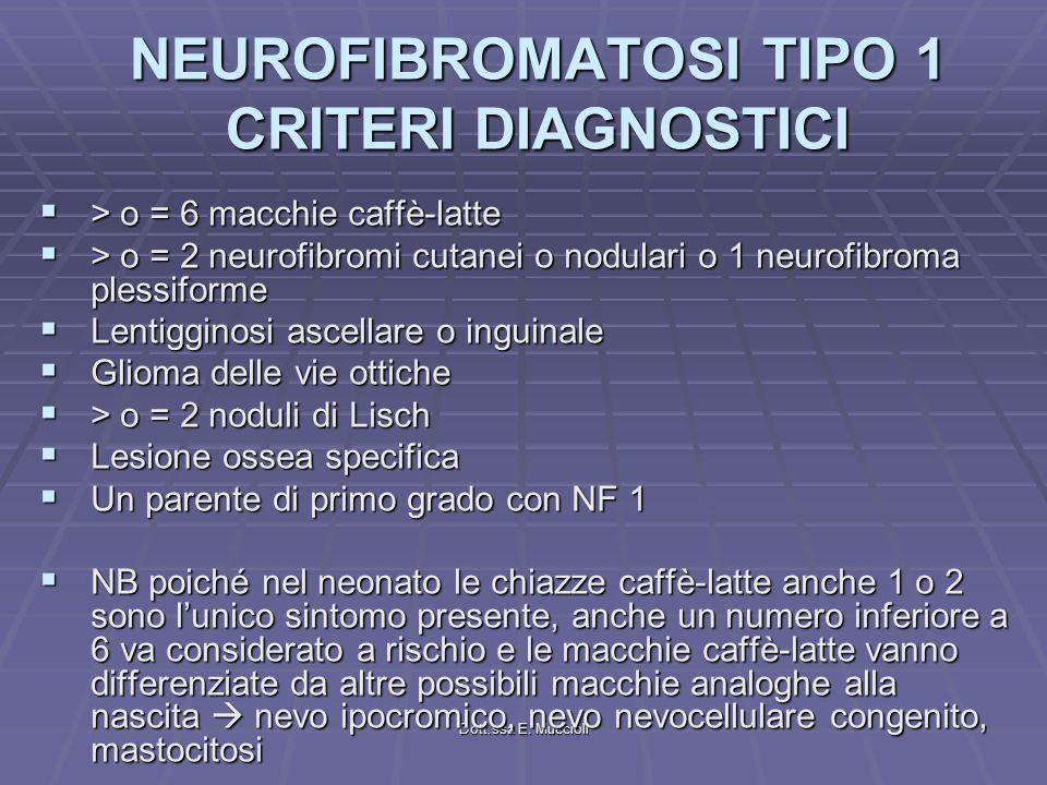 NEUROFIBROMATOSI TIPO 1 CRITERI DIAGNOSTICI