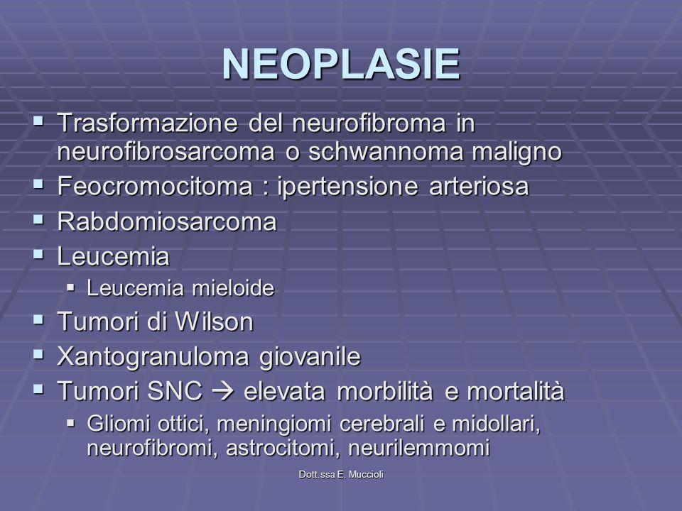 NEOPLASIE Trasformazione del neurofibroma in neurofibrosarcoma o schwannoma maligno. Feocromocitoma : ipertensione arteriosa.