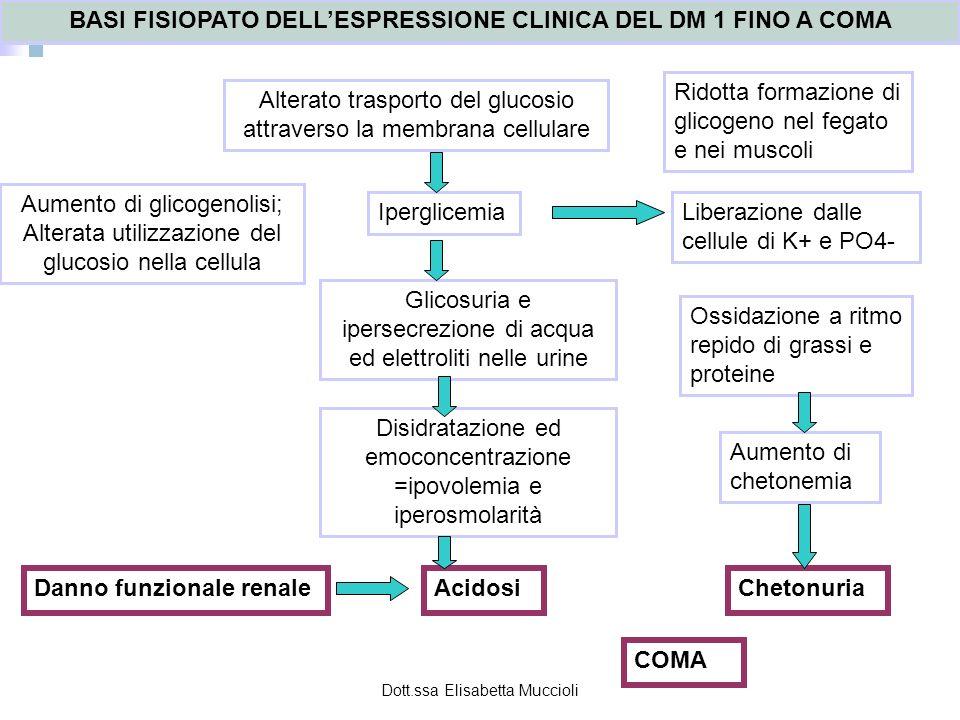 BASI FISIOPATO DELL'ESPRESSIONE CLINICA DEL DM 1 FINO A COMA