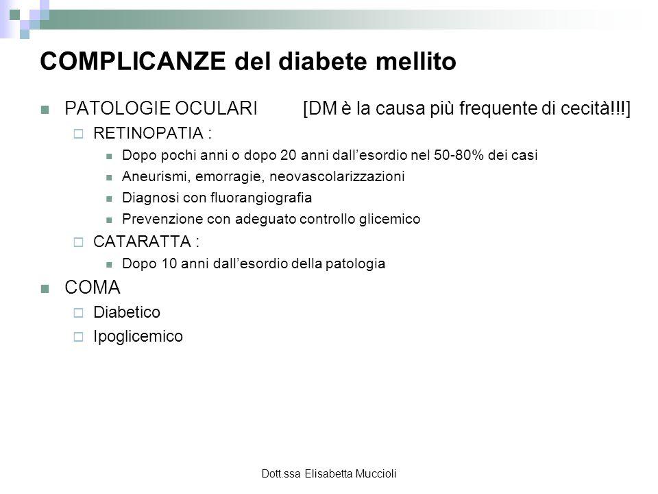 COMPLICANZE del diabete mellito