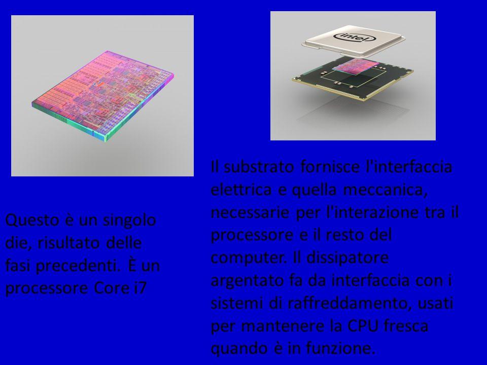Il substrato fornisce l interfaccia elettrica e quella meccanica, necessarie per l interazione tra il processore e il resto del computer. Il dissipatore argentato fa da interfaccia con i sistemi di raffreddamento, usati per mantenere la CPU fresca quando è in funzione.