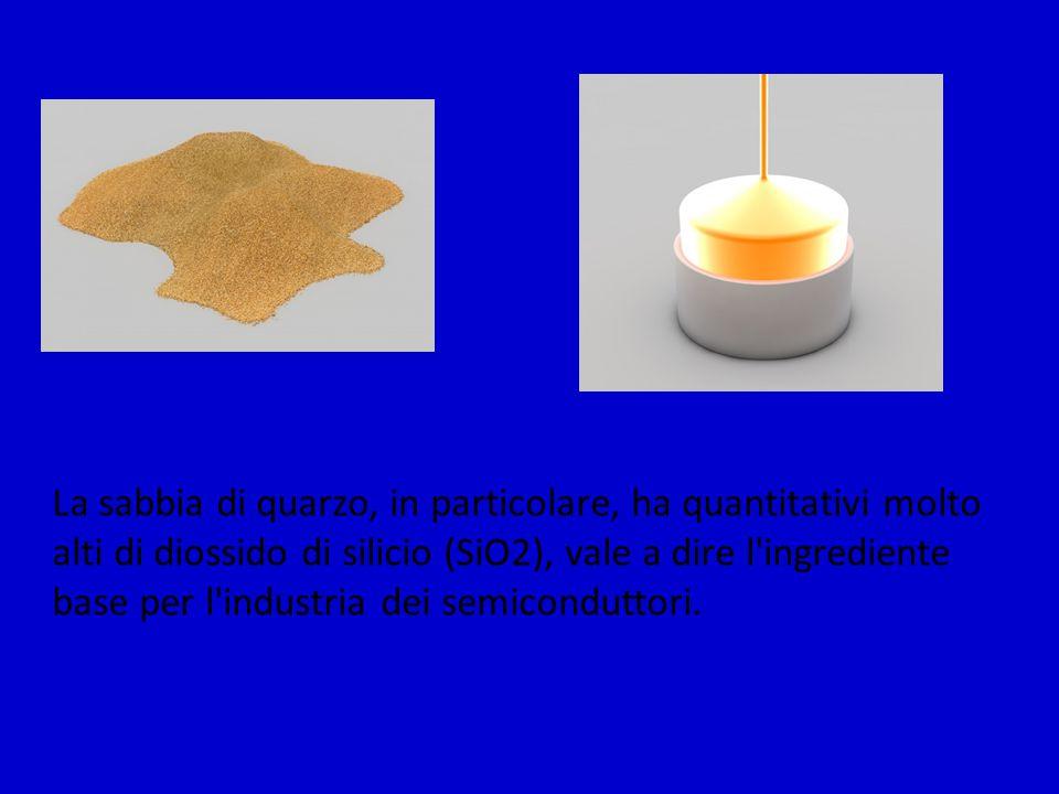 La sabbia di quarzo, in particolare, ha quantitativi molto alti di diossido di silicio (SiO2), vale a dire l ingrediente base per l industria dei semiconduttori.