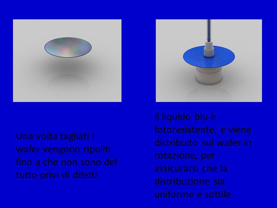 Il liquido blu è fotoresistente, e viene distribuito sul wafer in rotazione, per assicurarsi che la distribuzione sia uniforme e sottile.