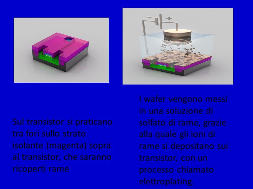 I wafer vengono messi in una soluzione di solfato di rame, grazie alla quale gli ioni di rame si depositano sui transistor, con un processo chiamato elettroplating.
