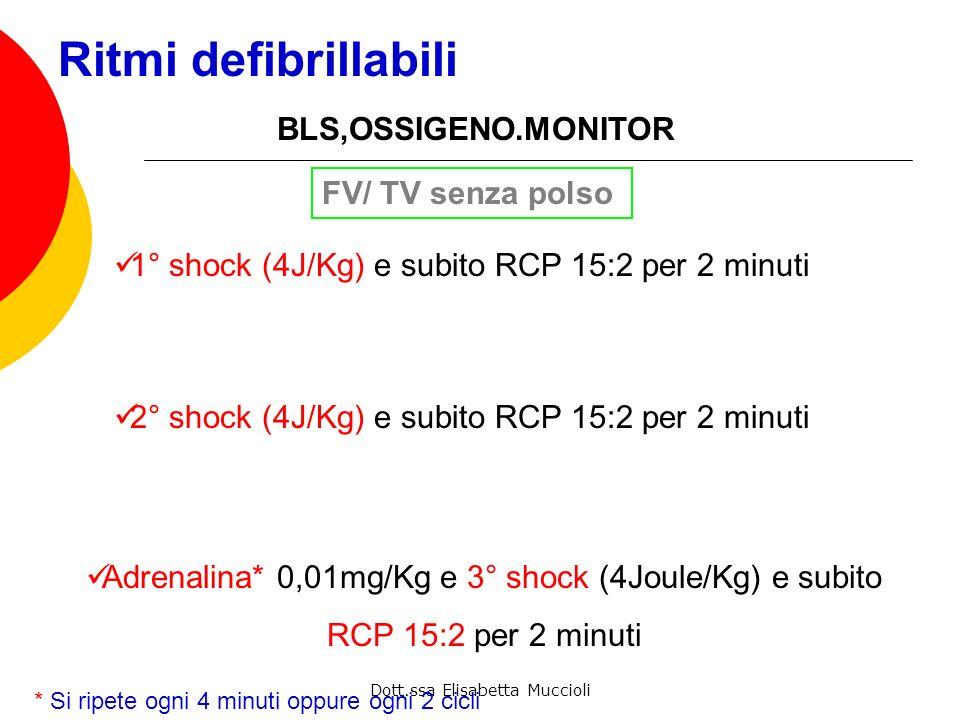 Ritmi defibrillabili BLS,OSSIGENO.MONITOR FV/ TV senza polso