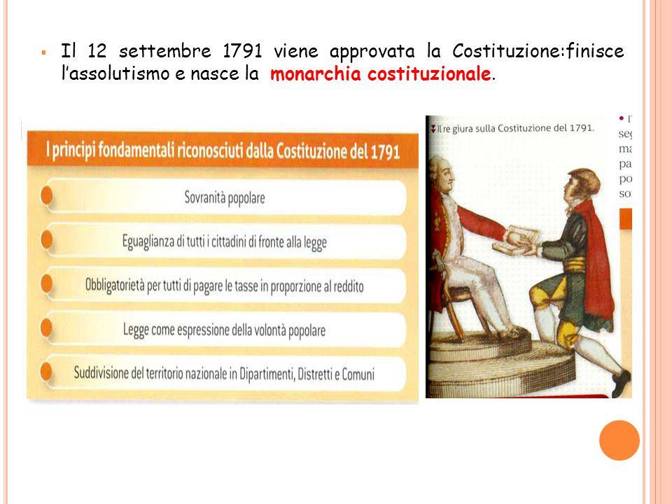 Il 12 settembre 1791 viene approvata la Costituzione:finisce l'assolutismo e nasce la monarchia costituzionale.