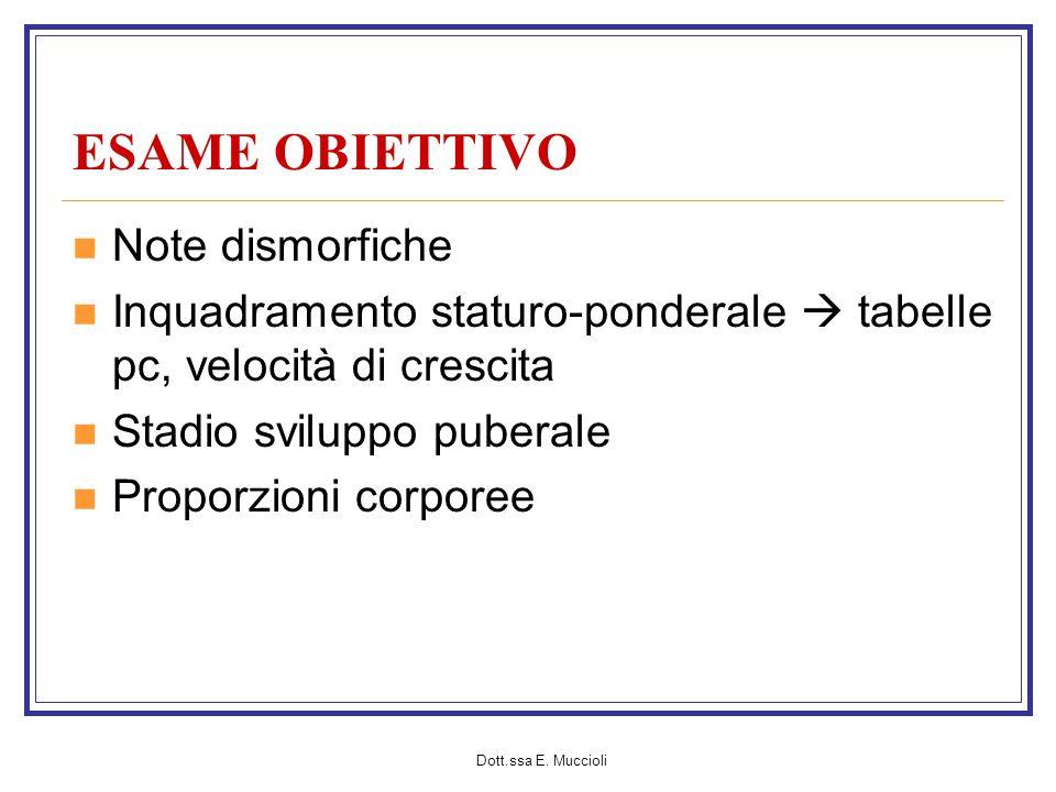 ESAME OBIETTIVO Note dismorfiche
