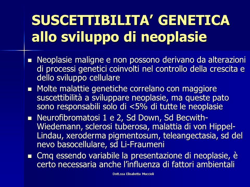 SUSCETTIBILITA' GENETICA allo sviluppo di neoplasie