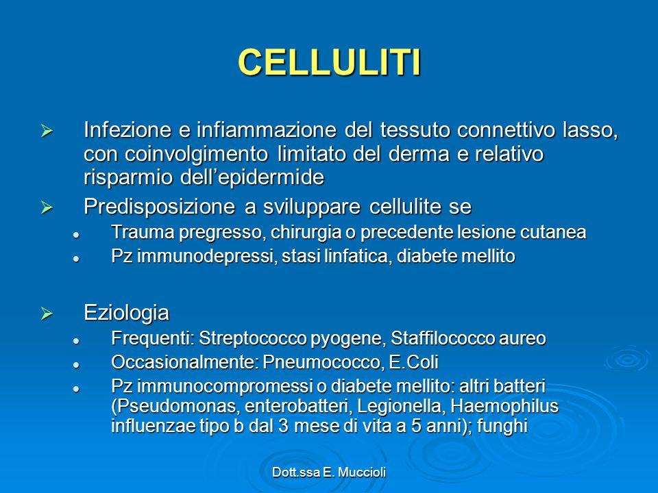 CELLULITI Infezione e infiammazione del tessuto connettivo lasso, con coinvolgimento limitato del derma e relativo risparmio dell'epidermide.