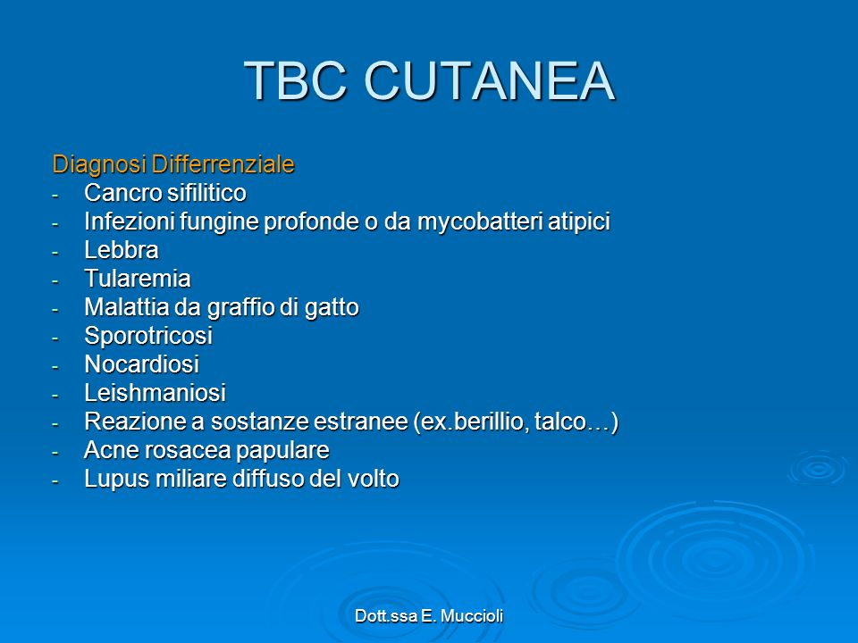 TBC CUTANEA Diagnosi Differrenziale Cancro sifilitico