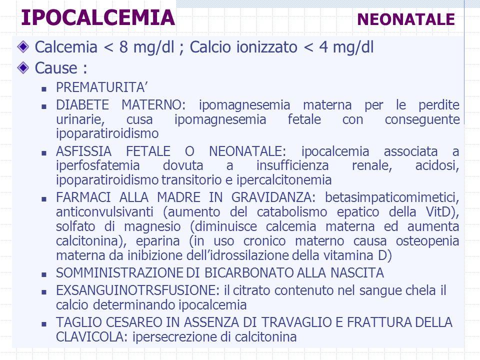 IPOCALCEMIA NEONATALE