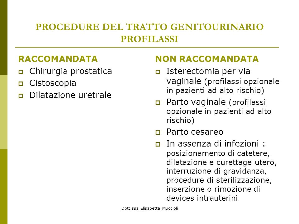 PROCEDURE DEL TRATTO GENITOURINARIO PROFILASSI