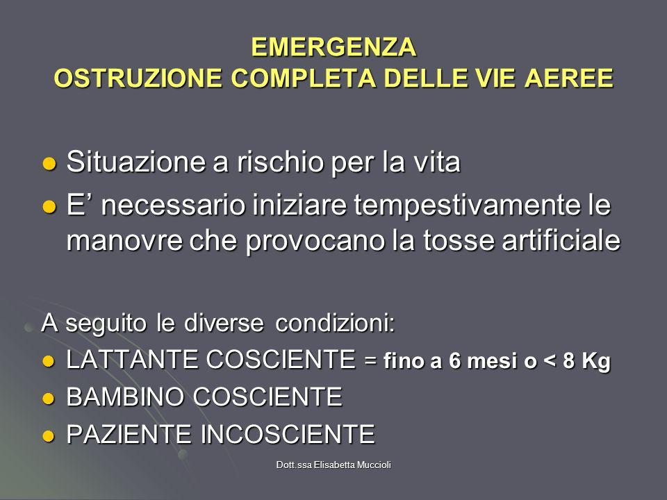 EMERGENZA OSTRUZIONE COMPLETA DELLE VIE AEREE