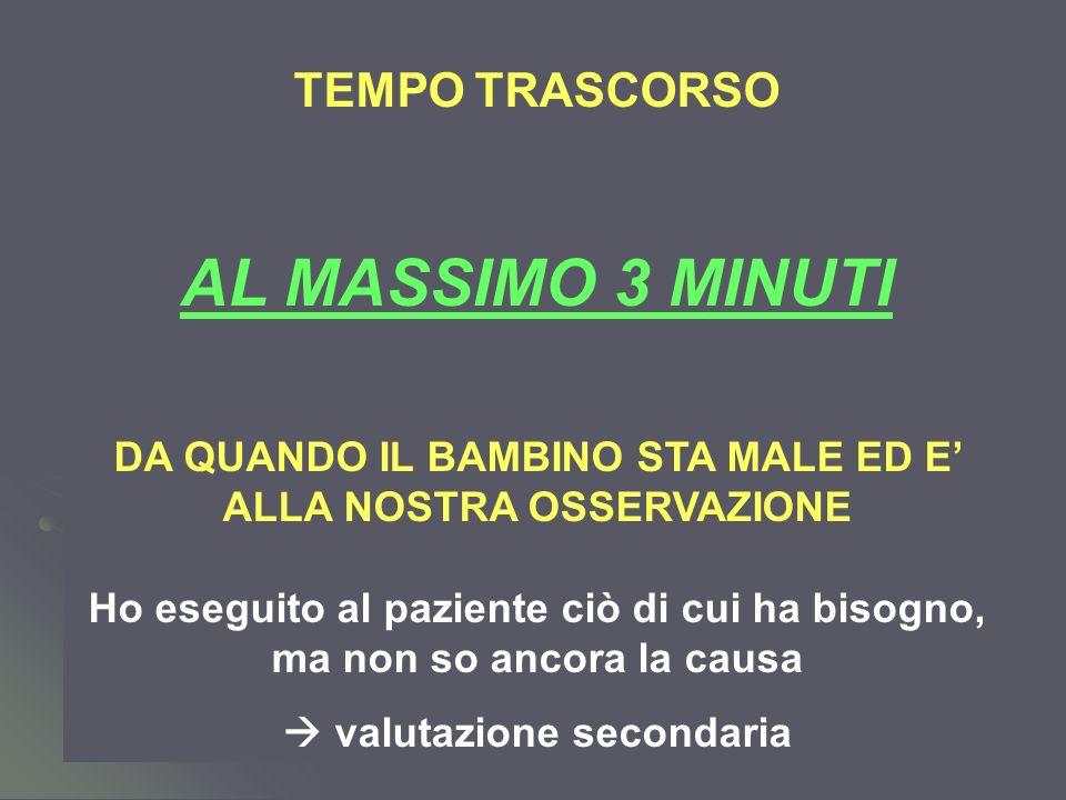 AL MASSIMO 3 MINUTI TEMPO TRASCORSO