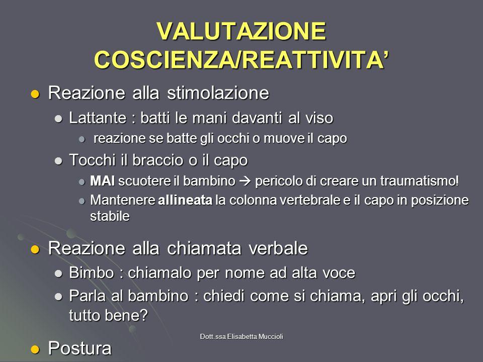 VALUTAZIONE COSCIENZA/REATTIVITA'