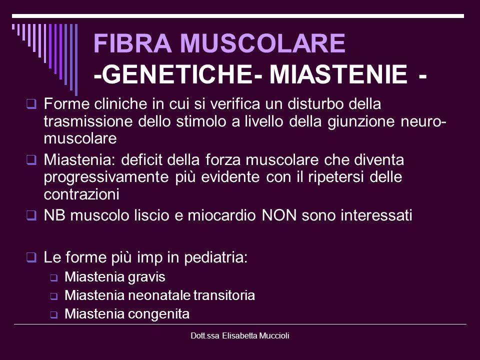 FIBRA MUSCOLARE -GENETICHE- MIASTENIE -