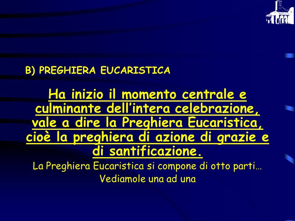 La Preghiera Eucaristica si compone di otto parti…