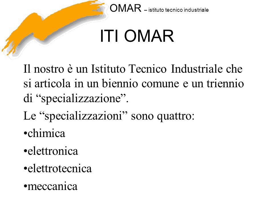ITI OMAR Il nostro è un Istituto Tecnico Industriale che si articola in un biennio comune e un triennio di specializzazione .