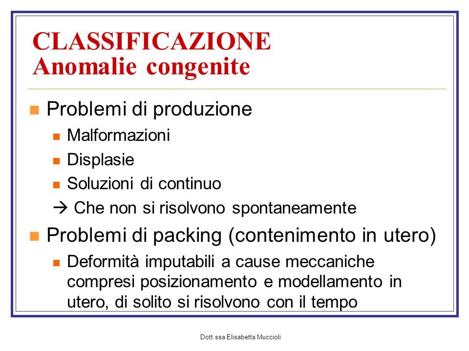 CLASSIFICAZIONE Anomalie congenite