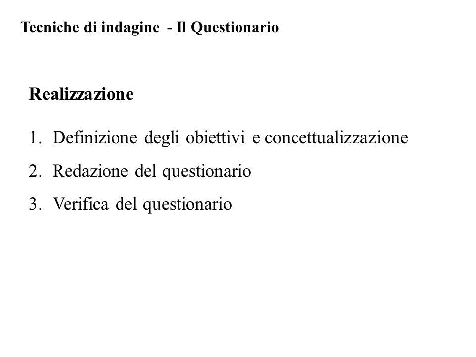 Definizione degli obiettivi e concettualizzazione