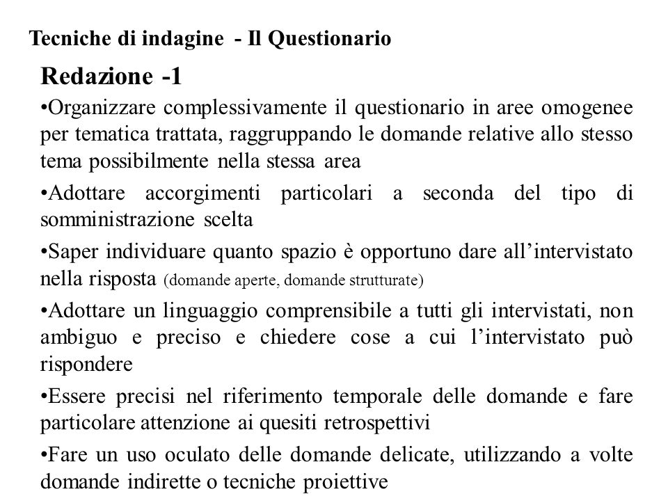 Redazione -1 Tecniche di indagine - Il Questionario