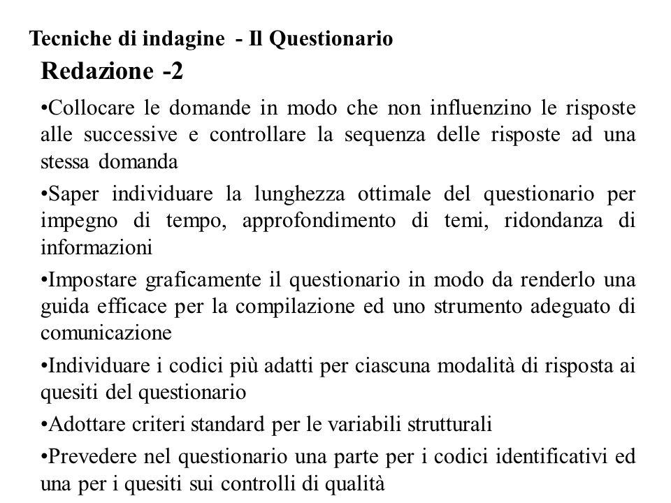 Redazione -2 Tecniche di indagine - Il Questionario