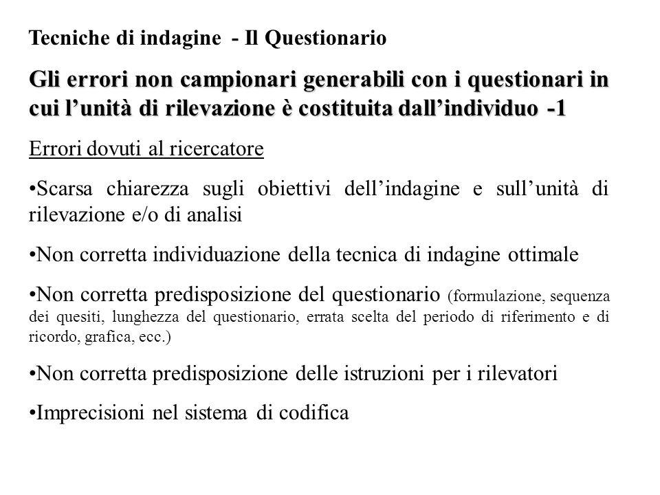 Tecniche di indagine - Il Questionario