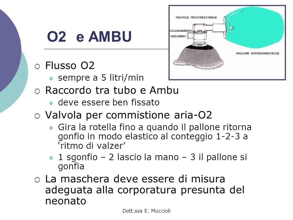 O2 e AMBU Flusso O2 Raccordo tra tubo e Ambu