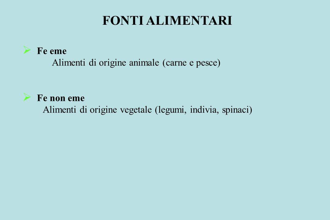 FONTI ALIMENTARI Fe eme Alimenti di origine animale (carne e pesce)